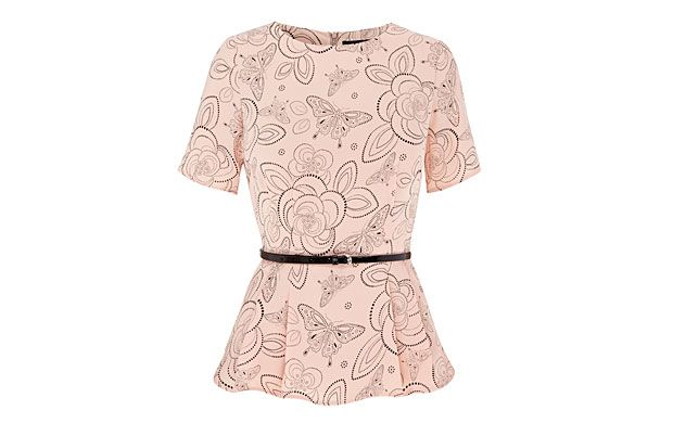 """Patterned Peplum Top. """"Create an hourglass silhouette in an instant with this top, thanks to its waist-cinching belt and peplum detail."""""""