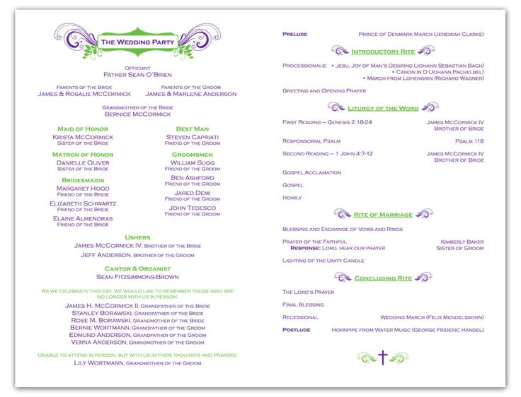 wedding programs wording