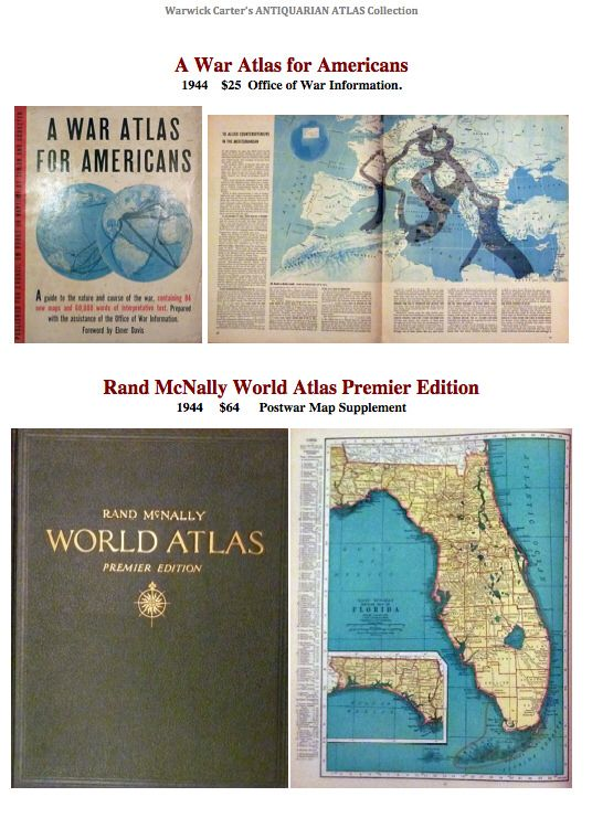 A War Atlas for Americans 1944; Rand McNally World Atlas Premier Edition 1944