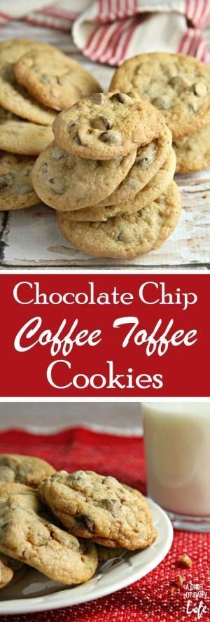These chocolate chip coffee toffee cookies may look like an ordinary chocolate chip cookie, but bite into one and you are in for a delicious surprise! The toffee bits and a hint of coffee take the flavor of these chocolate chip cookies to a new level. You're definitely going to want to add them to your holiday baking list! by doris