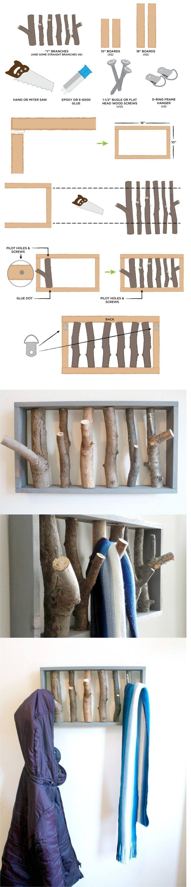 Colgador DIY con ramas - keptblog.com - DIY Branch Coat Rack