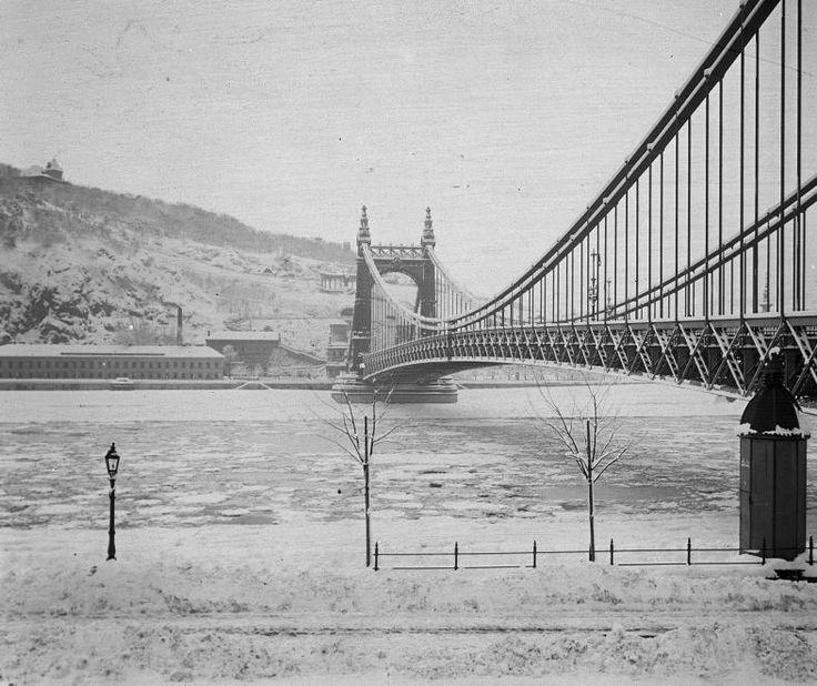Erzsébet híd, szemben a Rudas gyógyfürdő.