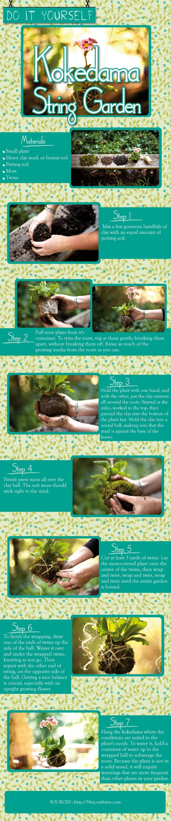 Beautiful, fun and creative – everything DIY project should be and this instructographic on how to create your own Kokedama Hanging Plant with String. All you need is a small plant and some twine and a little bit of work and this plant and flower can be hanging from your porch in no time.