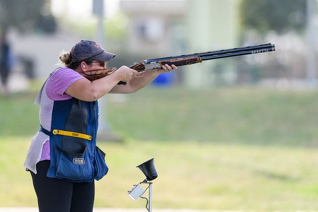 Kim Rhode competing Wednesday at the ISSF World Cup in New Delhi, India. She's now earned a shooting medal in 20 different countries during her illustrious career. Photo courtesy of the ISSF.