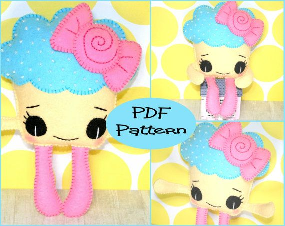 PDF Pattern  Cupcake Felt Doll Pattern  For by EmmaIrlamCrafts