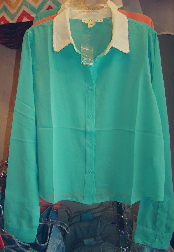 Blusa Azul turquesa manga larga chifon