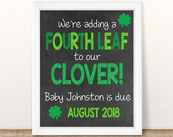 PRINTABLE St Patricks Pregnancy Announcement, St Patricks Day, Baby 2, Chalkboard Photo Prop, Pregnancy Reveal, second baby, baby number 2