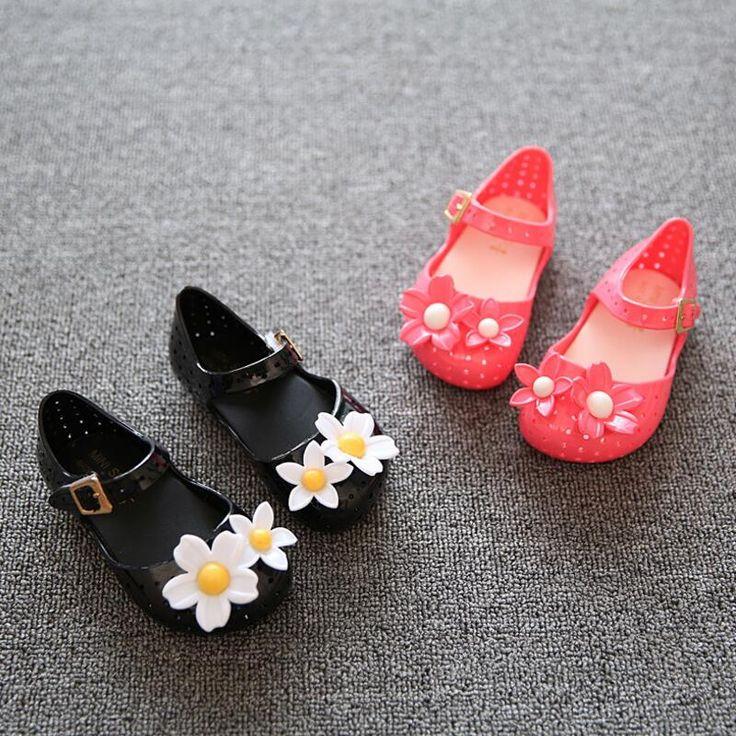 Hot sale 2016 Summer Children sandals Mini Melissa flowers baby Girls sandals rain boot jelly crystal Shoes beach alishoppbrasil