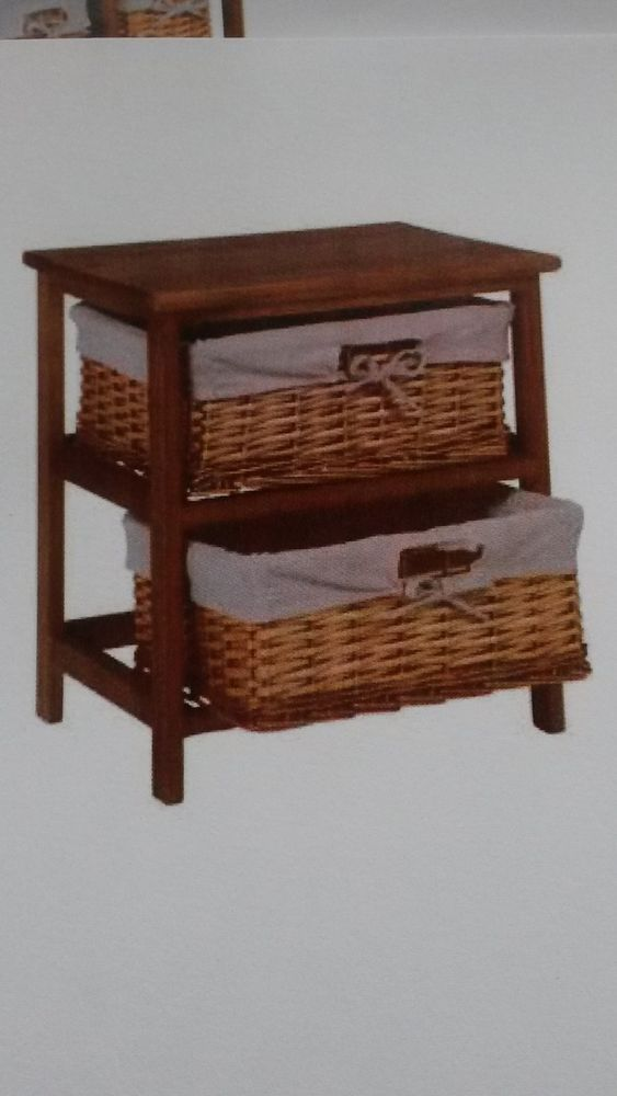2 Basket Wooden Storage Unit Brown New · Storage UnitsSide TablesBasketsOccasional TablesBasketSmall Tables - small side table with shelf
