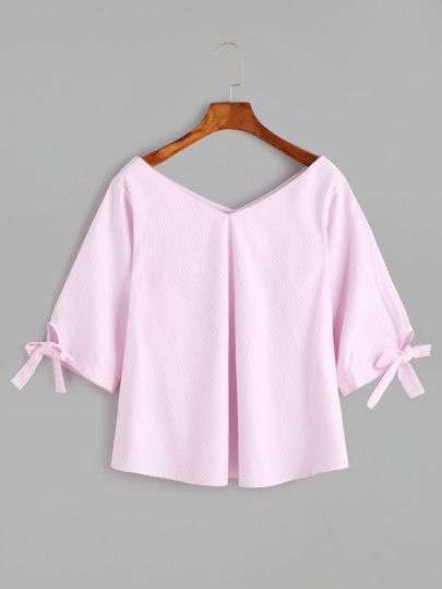 Pink Double V Neck Sleeve Tie Detail Blouse