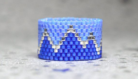 PEYOTE RING  Blue Mountain 2014 Spring by BeadSplashbyRobyn