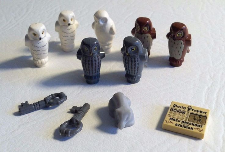 Lego Harry Potter Animal Parts lot Owl Rat Printed White Grey Brown Key News #LEGO