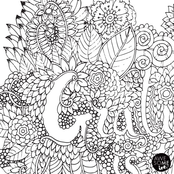 Colouring in A2 Poster - created by AwesoME Inc http://www.awesomeendsin.me/product/gratitude-is-the-vitamin-for-the-soul-colouring-in-poster/