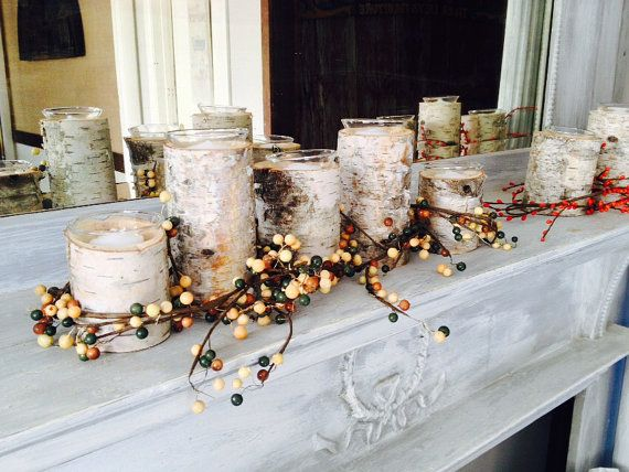 Centerpiece or mantle birch wood candle holders by