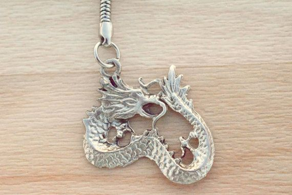 Dragon Keychain - Antique Silver Dragon Key Chain - Backpack Keychain - Back To School Gift