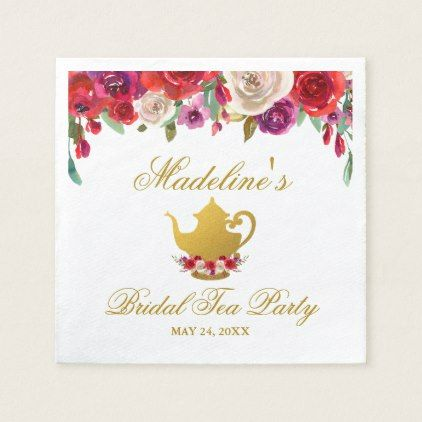 Tea Party Bridal Shower Floral and Gold Napkin - floral bridal shower gifts wedding bride party
