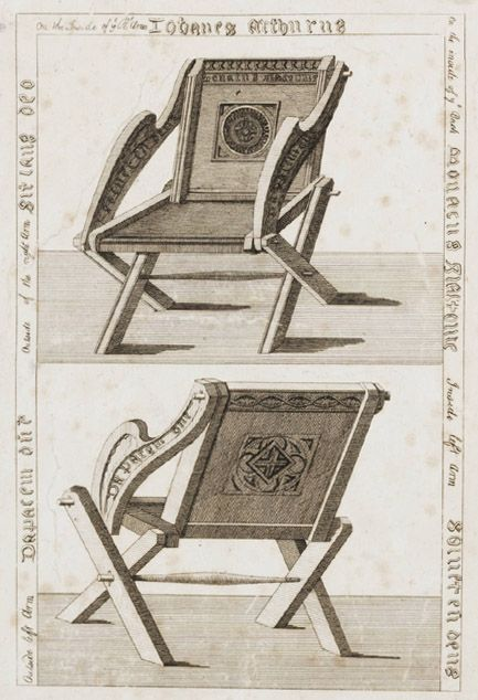 Drawing of extant early 16th century Glastonbury chair.
