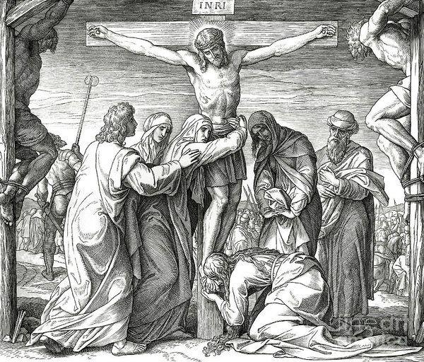 Die Kreuzigung Jesu am Kreuz, Johannesevangelium Poster von Julius Schnorr v …  – Art tattoo