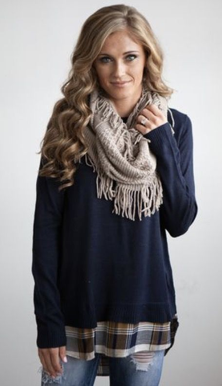 Stitch Fix Fashion 2017! Ask your stylist for something like this in your next fix, delivered right to your door! #sponsored #StitchFix Plaid & navy layered with a scarf.