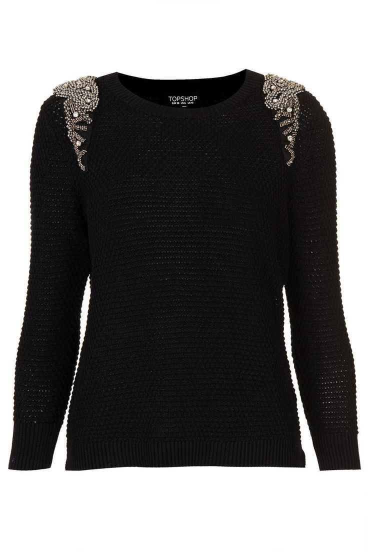 Knitted Crystal Shoulder Sweat - Knitwear - Clothing - Topshop USA