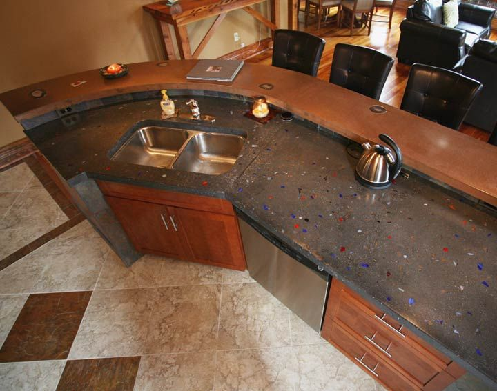Customer Concrete Kitchen Countertop And Island   Made With CHENG  Pro Formula In Saddle And