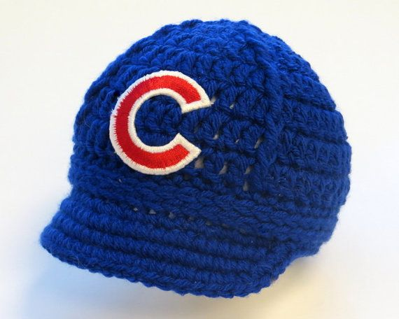 Baby Chicago Cubs Cap  Hat  Knitted / by GoldenGirlzHandmade