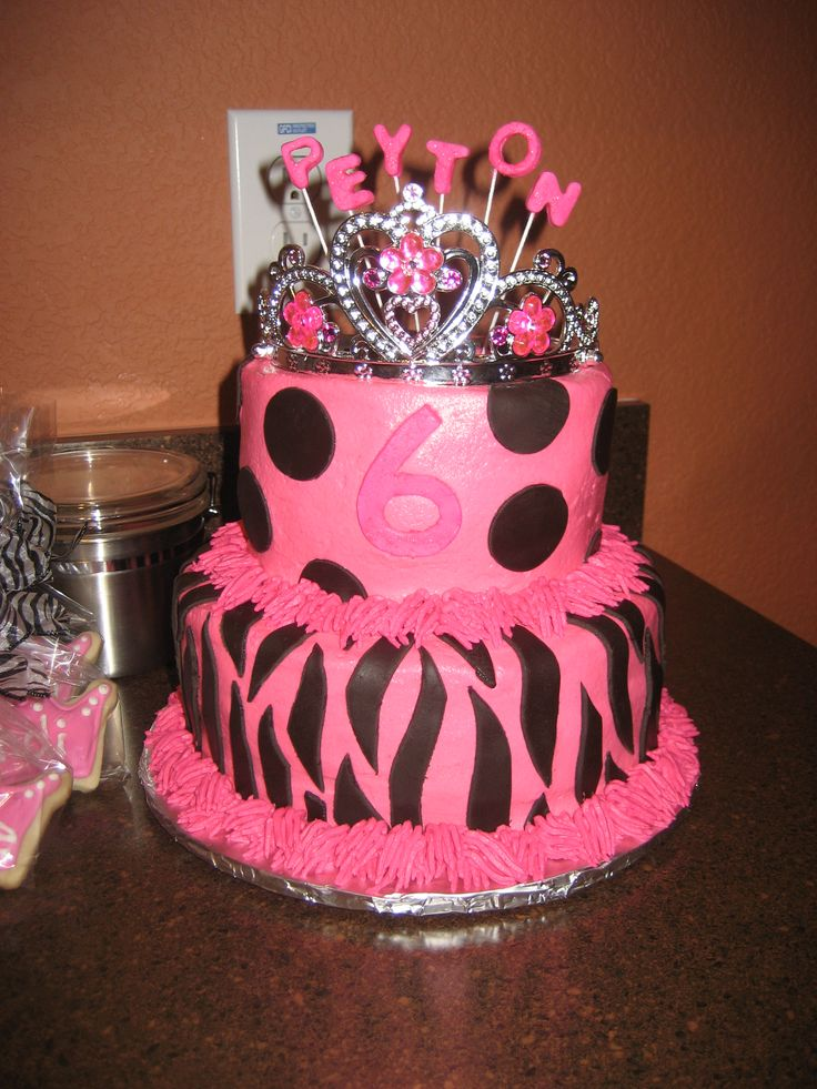 images of princess cakes | Pink & Black Zebra Princess cake & cookie favors | Sugary Expressions