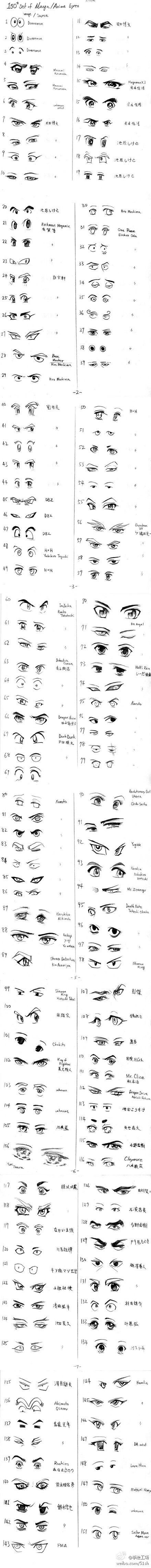 stylized eye reference for character creation how to draw manga peopleresources for art students art
