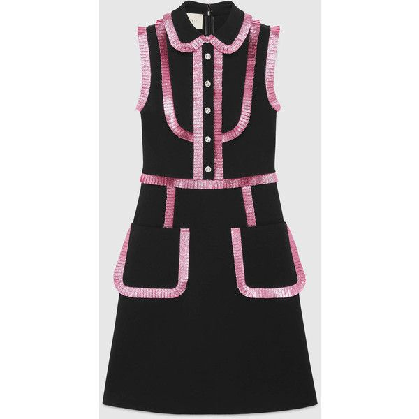 Gucci Jersey Shirtdress With Lurex Trim ($2,495) ❤ liked on Polyvore featuring dresses, black, pleated shirt dress, pleated dress, zip back dress, jersey dress and t-shirt dresses