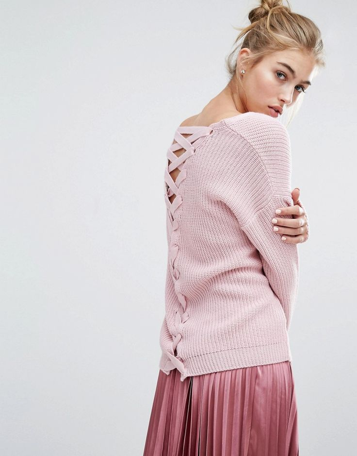 Image 1 of Miss Selfridge Pink Lace Back Jumper at Asos