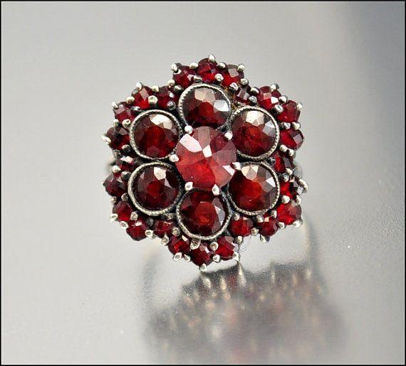 Edwardian Bohemian Garnet Ring Antique Jewelry