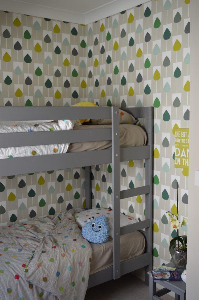 Shared kids bedroom. Scion Sula Wallpaper in Juniper & Kiwi IKEA MYDAL bunk bed hack