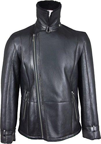 UNICORN Mens Crossed Zipper Coat Black With Black Fur Real Leather Jacket #GV