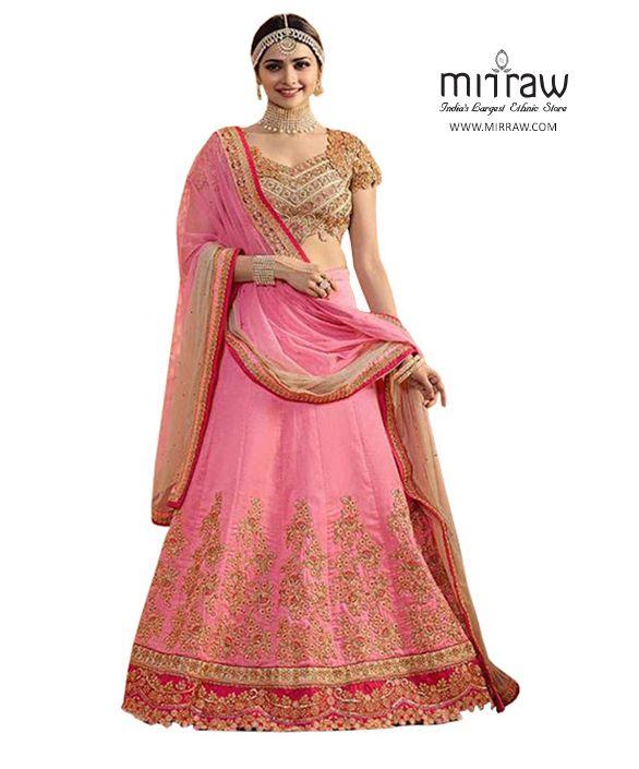 af012b6ceb Looking to buy trendy and designer pink lehengas visit Mirraw ...