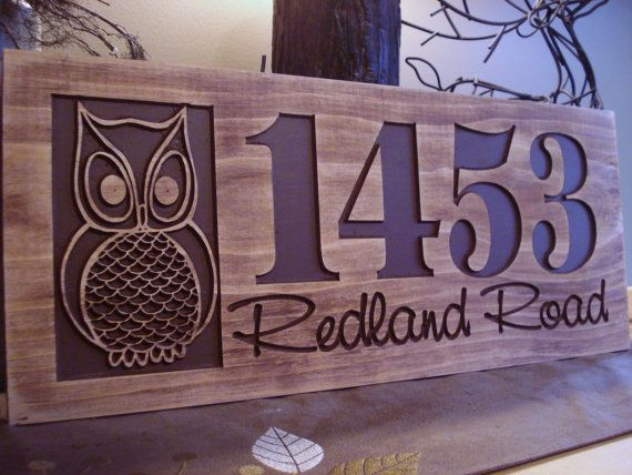 carved wooden welcome owl address sign nature inspired owl design best gift idea for nature and outdoor lovers - Sign Design Ideas