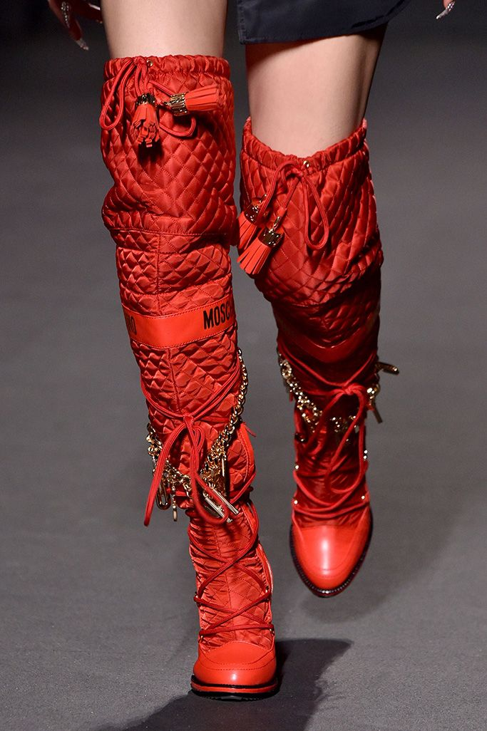 MOSCHINO HM OVER KNEE High Knee High Heel Leather Boots 36