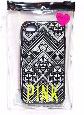 Victoria's Secret Rosa iPhone 4/4S Estojo Preto Asteca Com Neon Verde, Novo Na Embalagem
