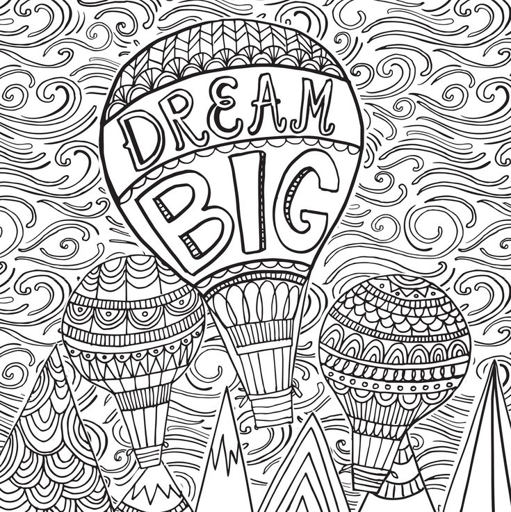 dream big hot air balloon joyful inspiration adult coloring book 31 stress relieving - Coloring Pages For Paint Program