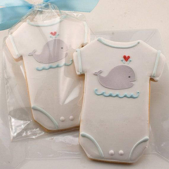 Whale Onesie cookie favors - 12 Decorated Sugar Cookies for $36. Absolutely adorable!!!