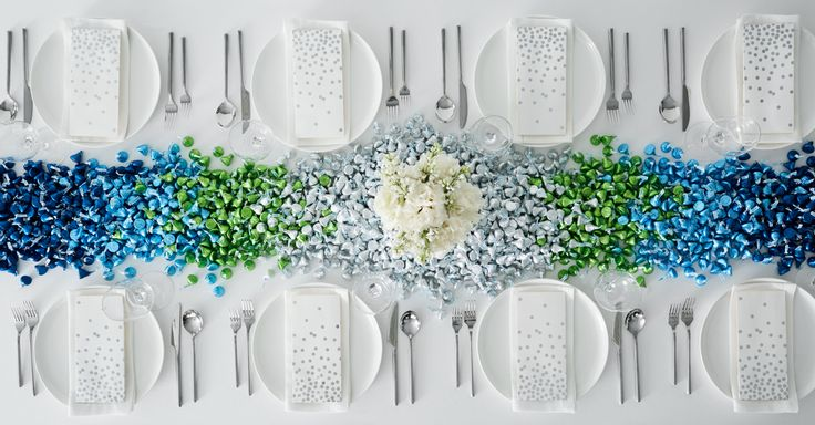 This artful arrangement, perfect for an informal wedding reception or engagement party, is what tasteful décor is all about.