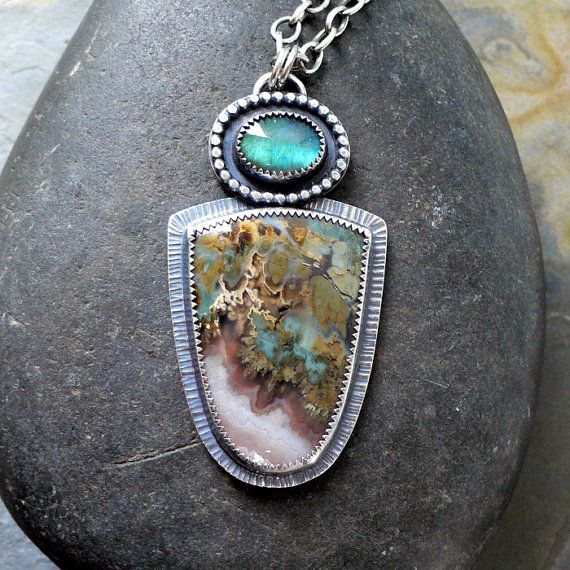 McComseyDesigns...really like the colors of the stones...Materials: sterling silver, fine silver, prudent man agate, labradorite, sterling silver chain, infinity style lobster clasp