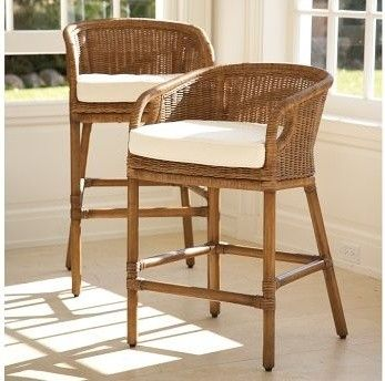 Wingate Rattan Barstool | Pottery Barn - traditional - bar stools and counter stools - other metro - by Pottery Barn