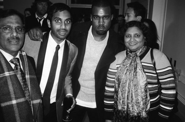 Just A Photo Of Aziz Ansari, His Parents And Kanye West