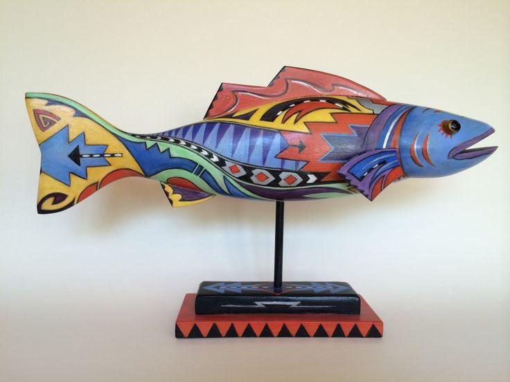 Santa Fe Fish. Folk art by Katy Bratun, acrylic on wood.
