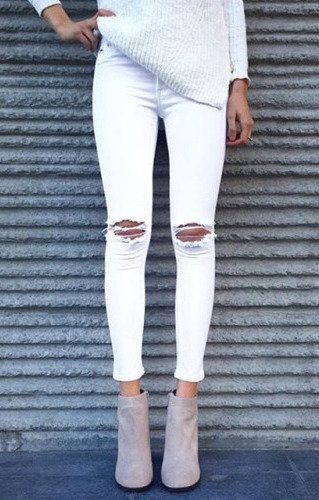 Fashionable Mid-Waisted White Skinny Women's Distressed Jeans + tan ankle boots