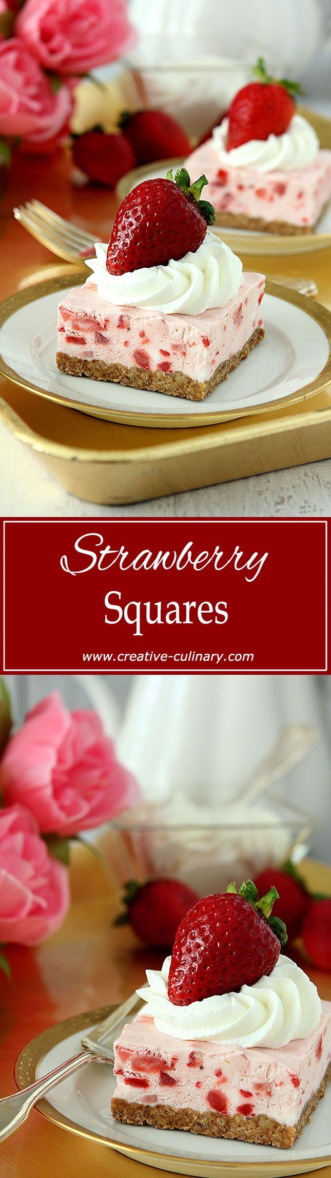 An old fashioned favorite that never goes out of style. These Strawberry Squares are the perfect summer treat! via @creativculinary
