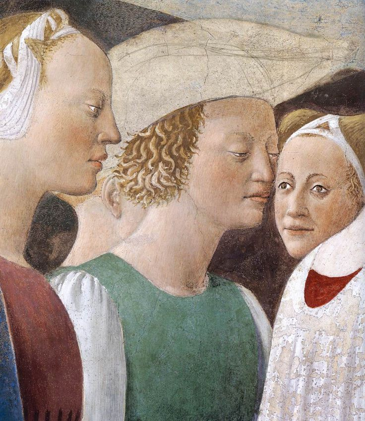 PIERO DELLA FRANCESCA - (1415 - 1492)   The Queen of Sheba in Adoration of the Wood and the Meeting of Solomon and the Queen of Sheba (detail). Fresco. San Francesco, Arezzo, Italy.