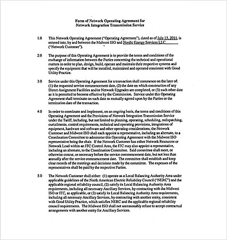 Network Operating Agreement , 11 Operating Agreement Template for a Secure Company Management , Operating agreement template is a form of agreement that you can download and edit by yourself to make a good and detail Operating Agreement for your company
