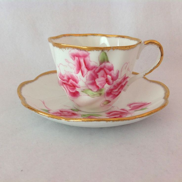 Salisbury England 1950s Bone China Pink Sweet Pea Tea Cup and Saucer from maggiebelles on Ruby Lane