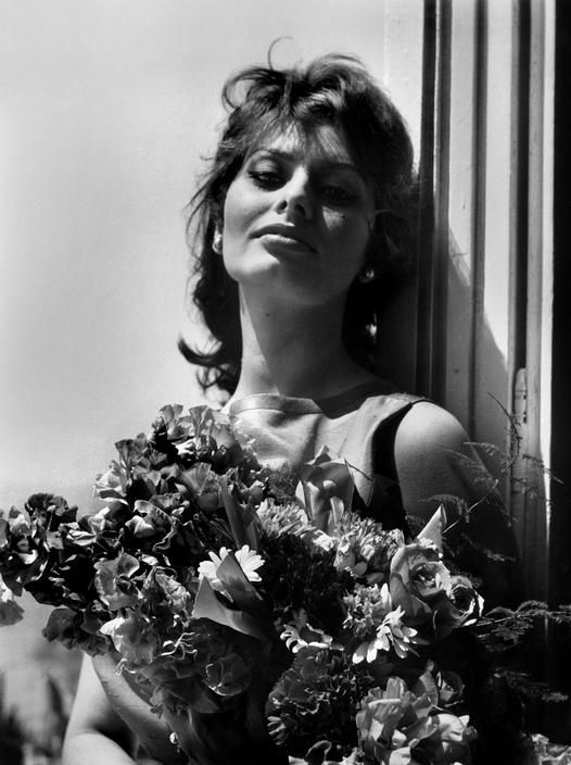 Ara Guler FRANCE. 12th Cannes film festival. Italian actress Sophia LOREN poses with flowers on the balcony of the Carlton hotel on May 13, 1959.